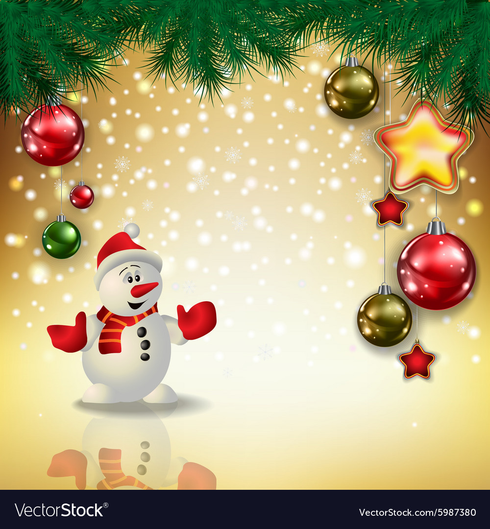 Abstract christmas golden greeting with snowman vector