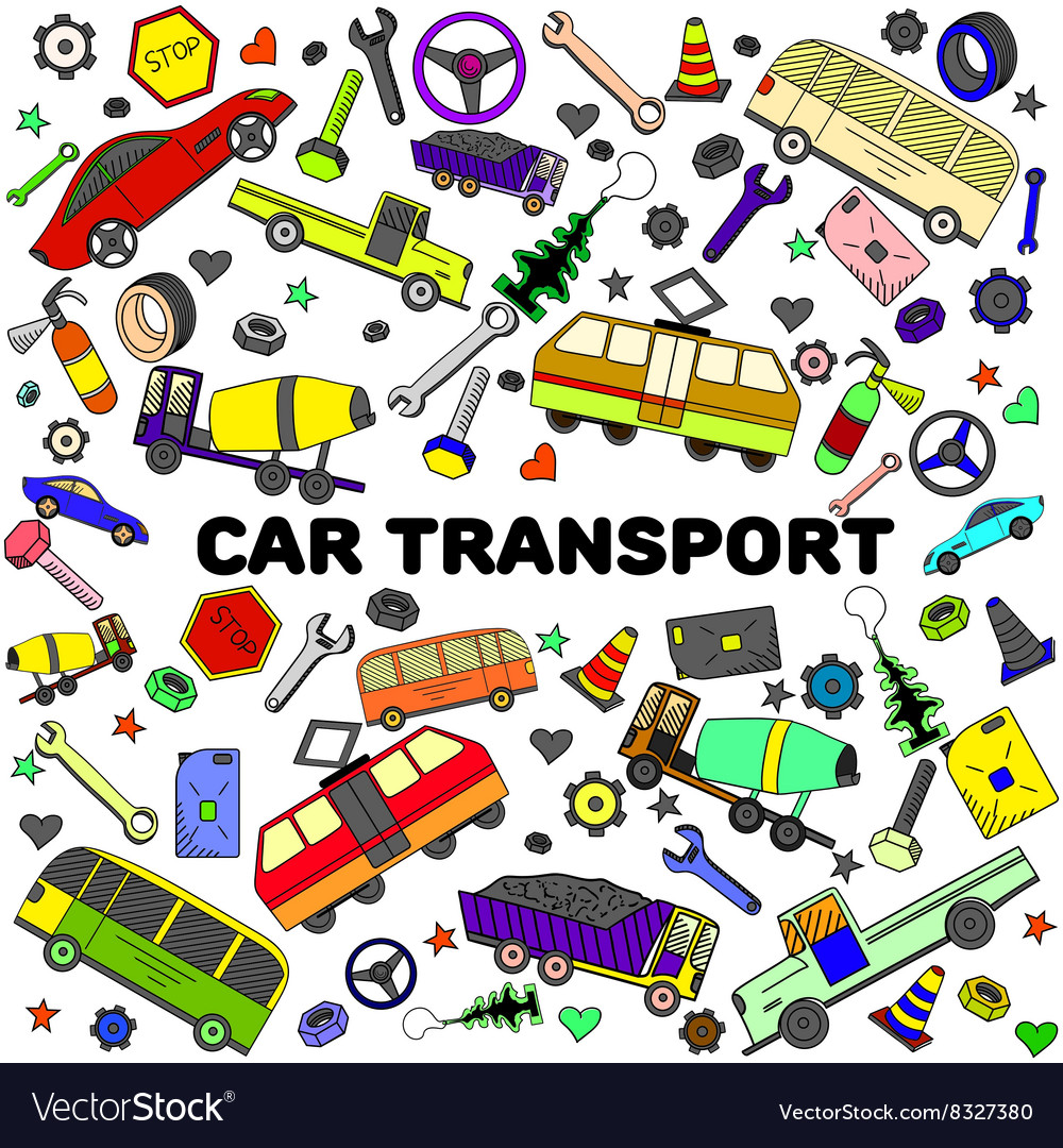 Car transport line art design vector