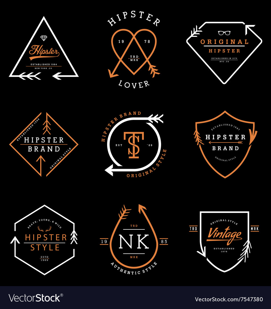 Hipster logo badges collection vector