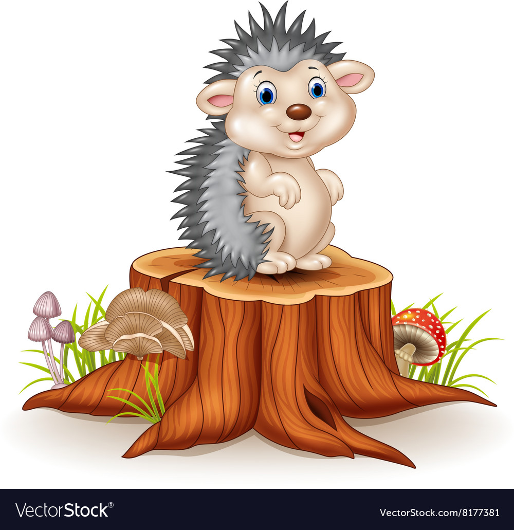 Adorable baby hedgehog sitting on tree stump vector