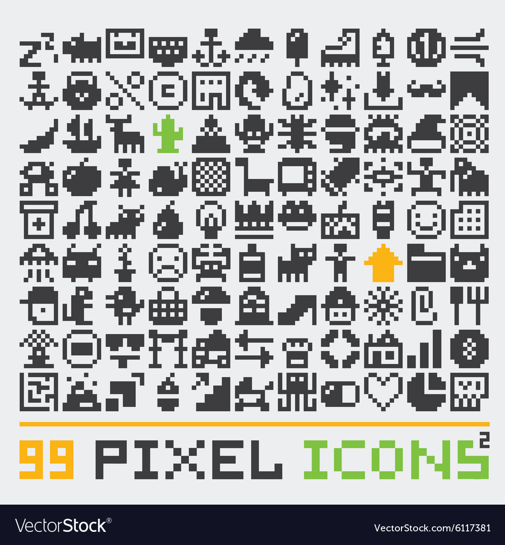 Pixel art web icons set 2 vector