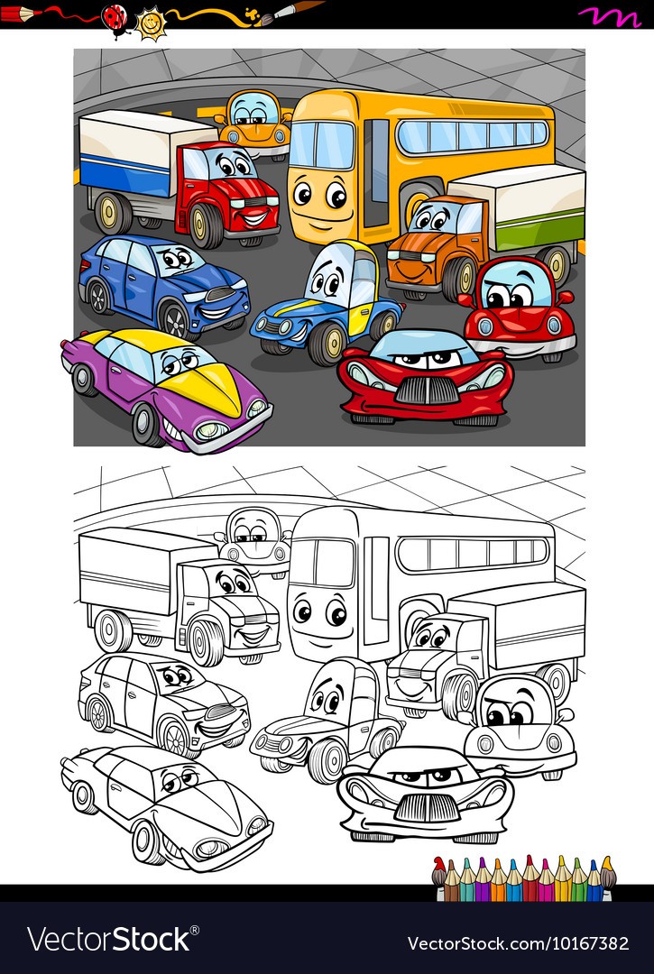 Cars group coloring book vector