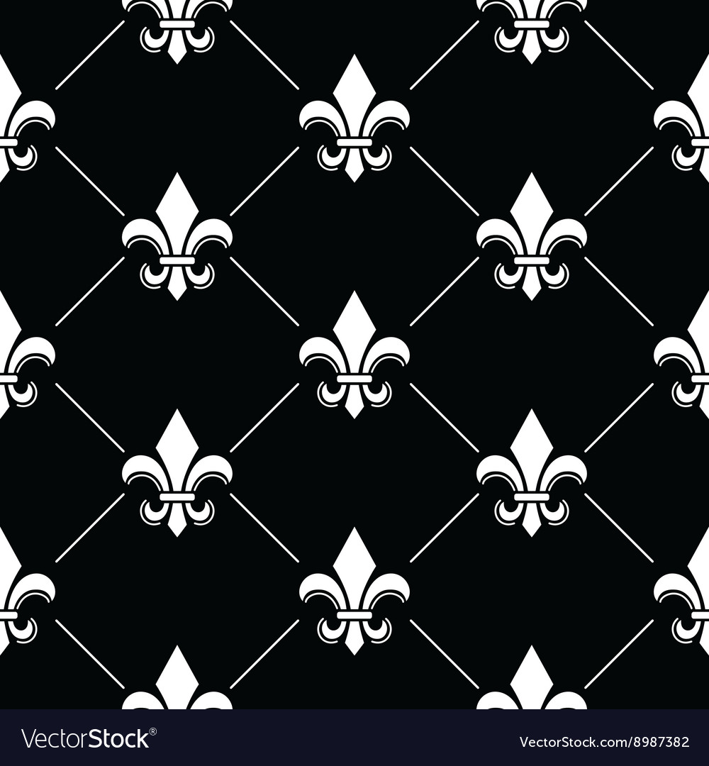 French damask background  fleur de lis black vector