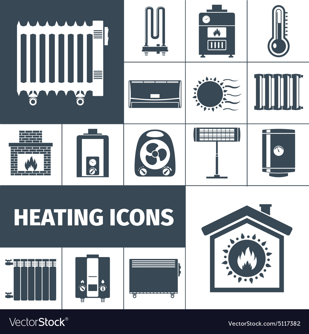 Heating flat icon set vector