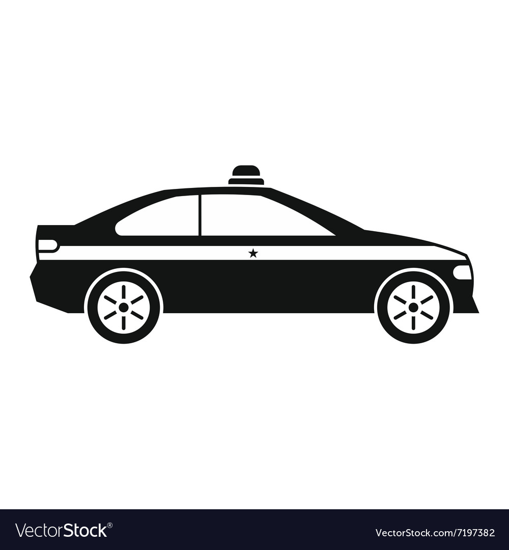 Police car black icon vector