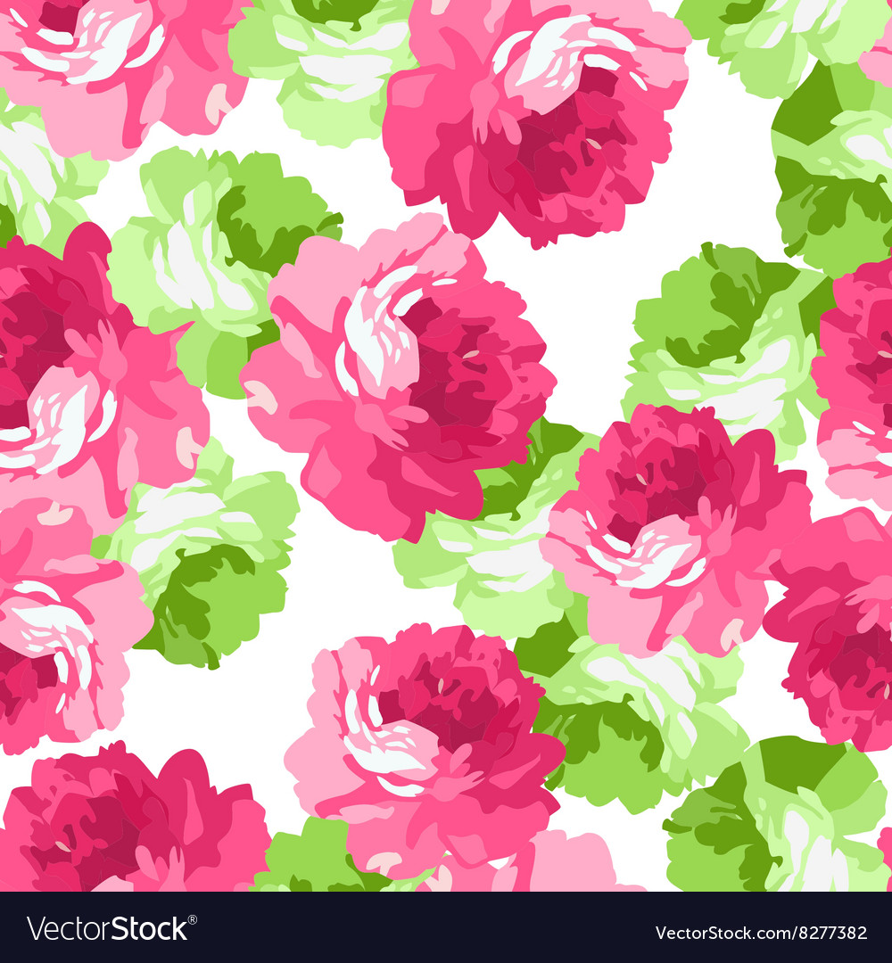 Seamless floral patter with pink roses vector