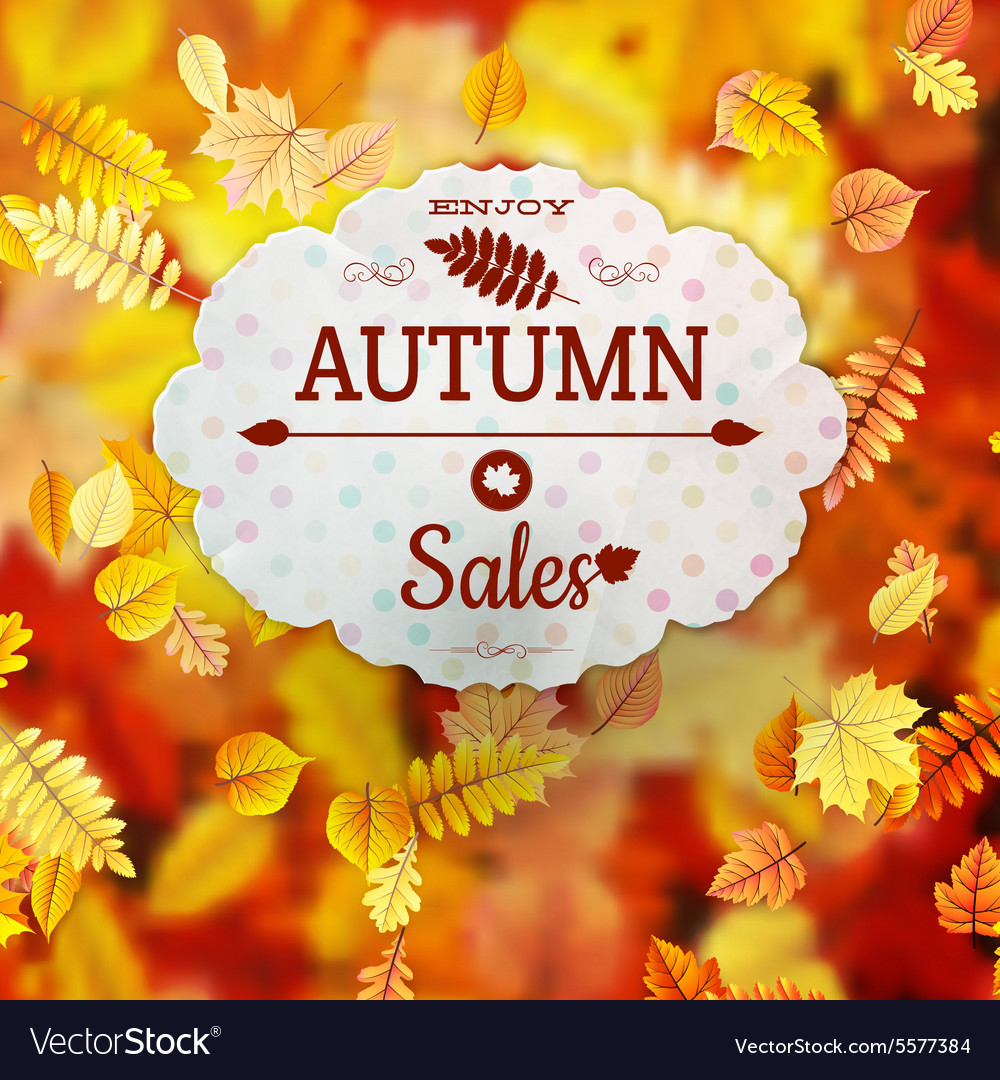 Sale with autumn leaves eps 10 vector