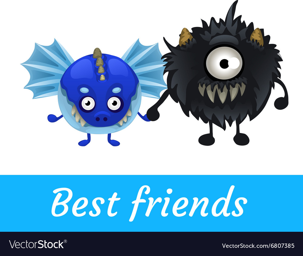 Two funny monster isolated black and blue vector