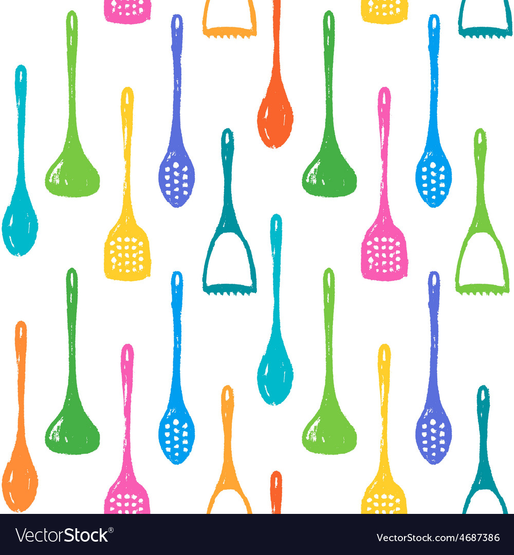 Kitchen accessories ink hand drawn pattern vector