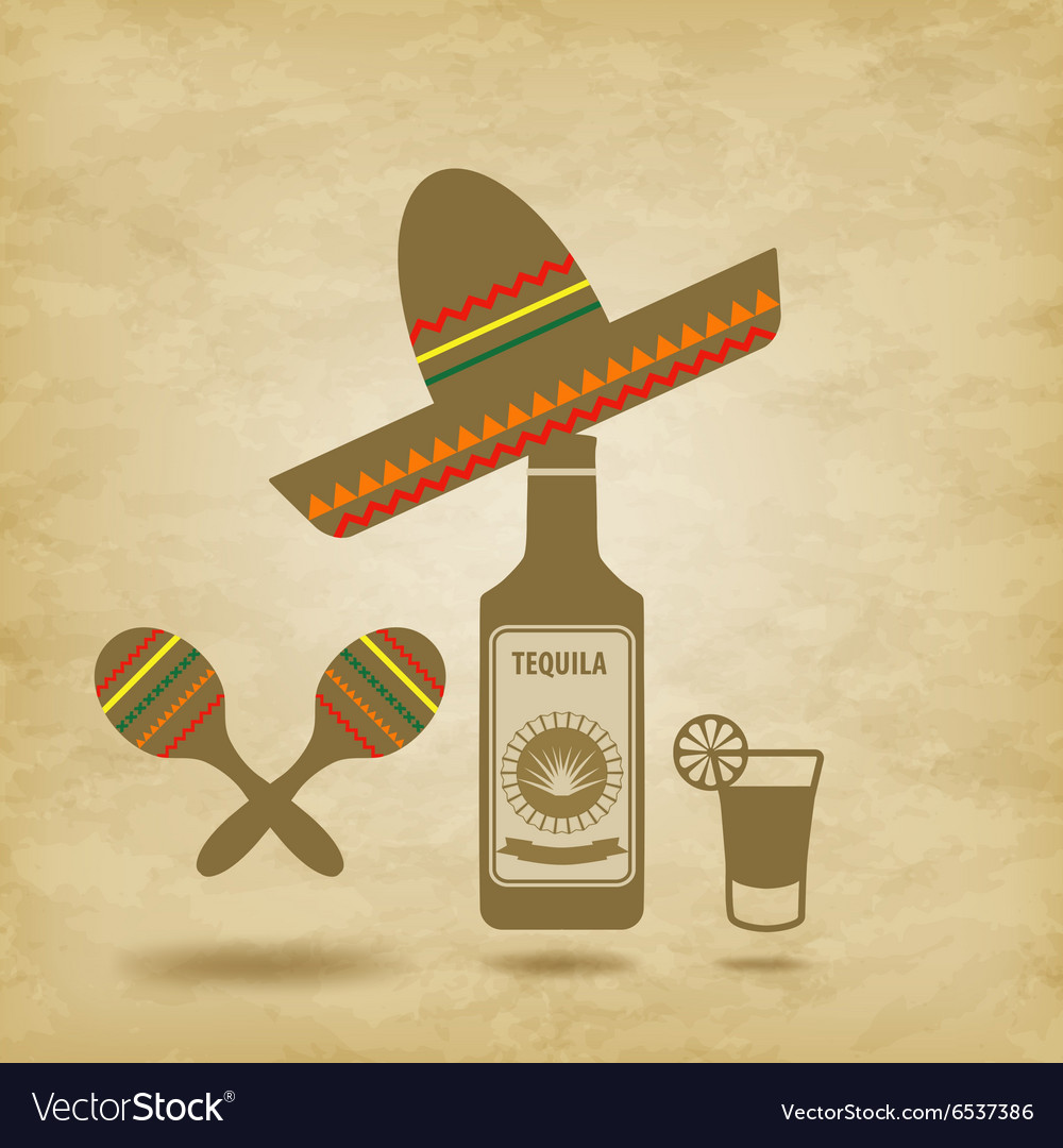 Mexico icons grunge background vector