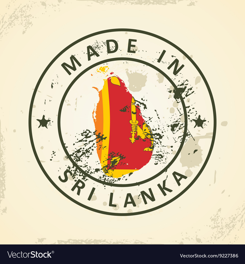 Stamp with map flag of sri lanka vector