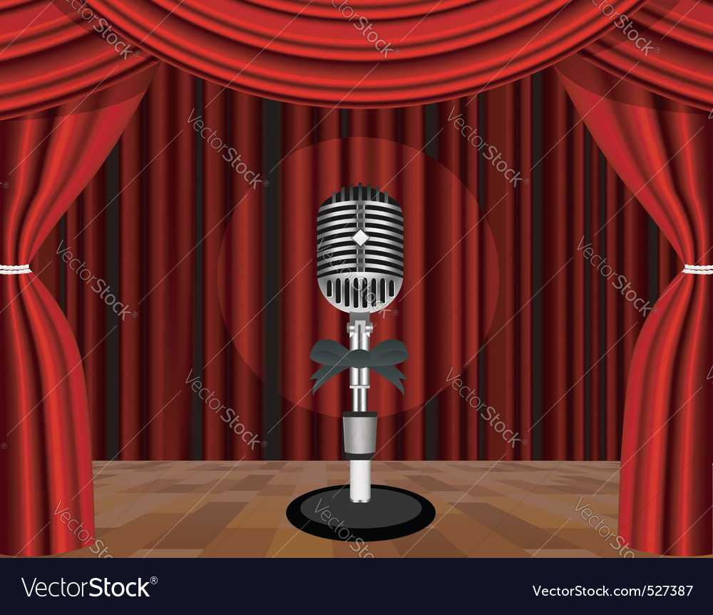 A microphone on a stage with a spotlight on it vector