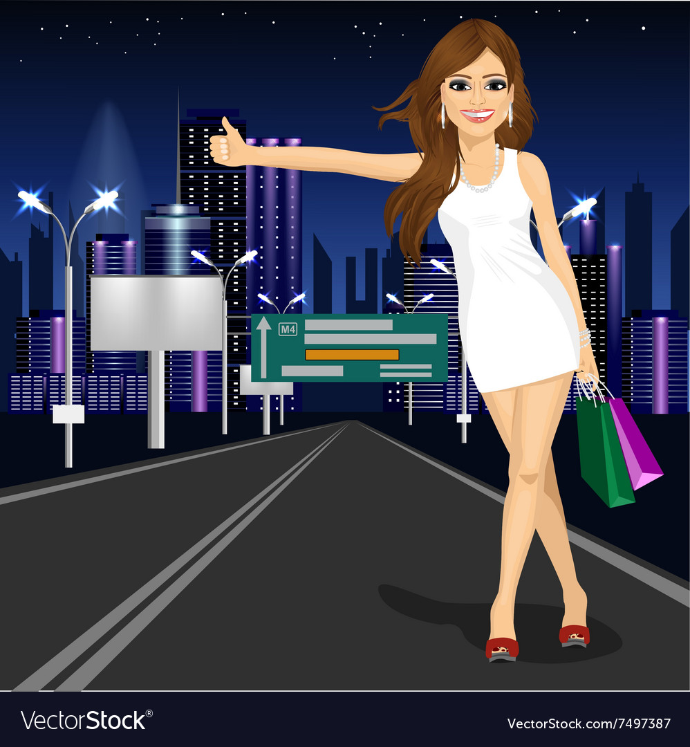 Beautiful girl voting on night city road vector