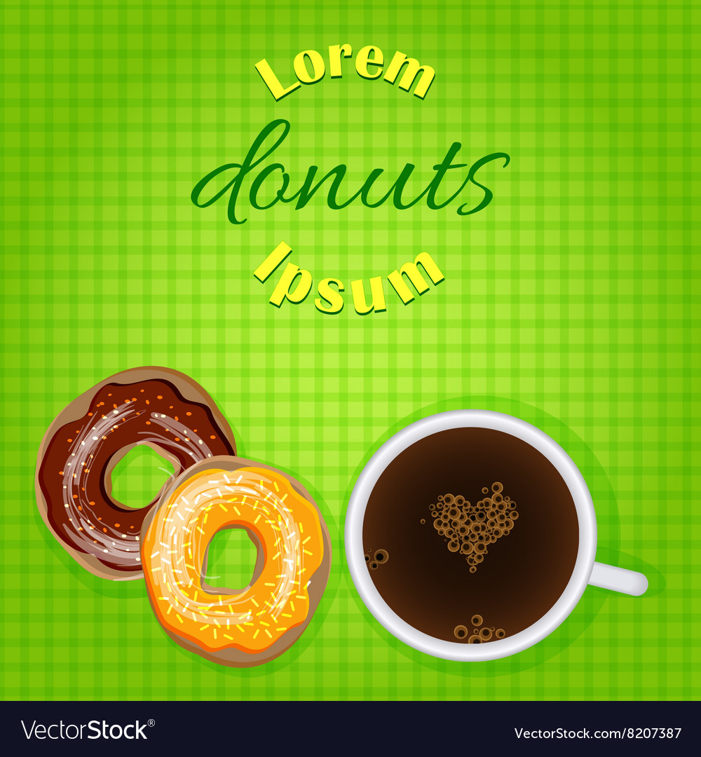 Doughnuts and coffee bakery or cafe banner vector