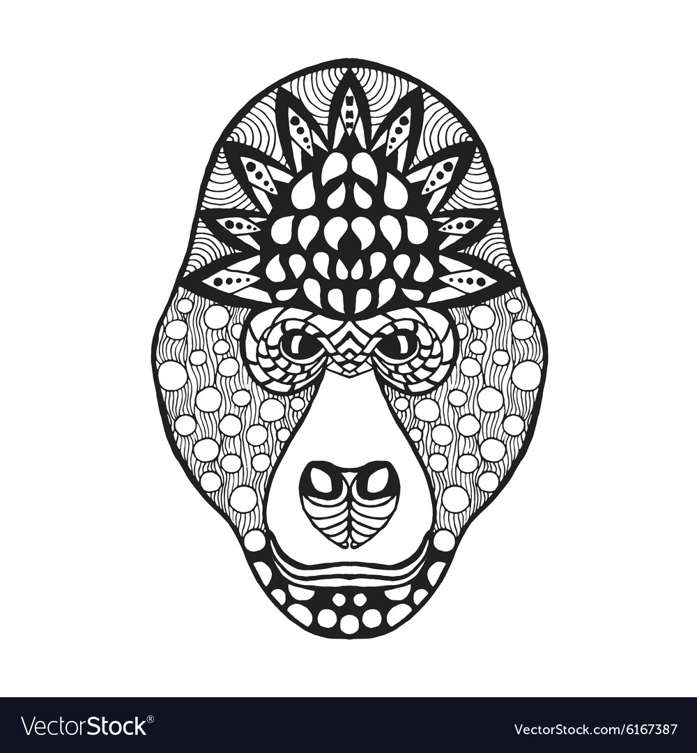 Zentangle stylized gorilla head sketch for tattoo vector