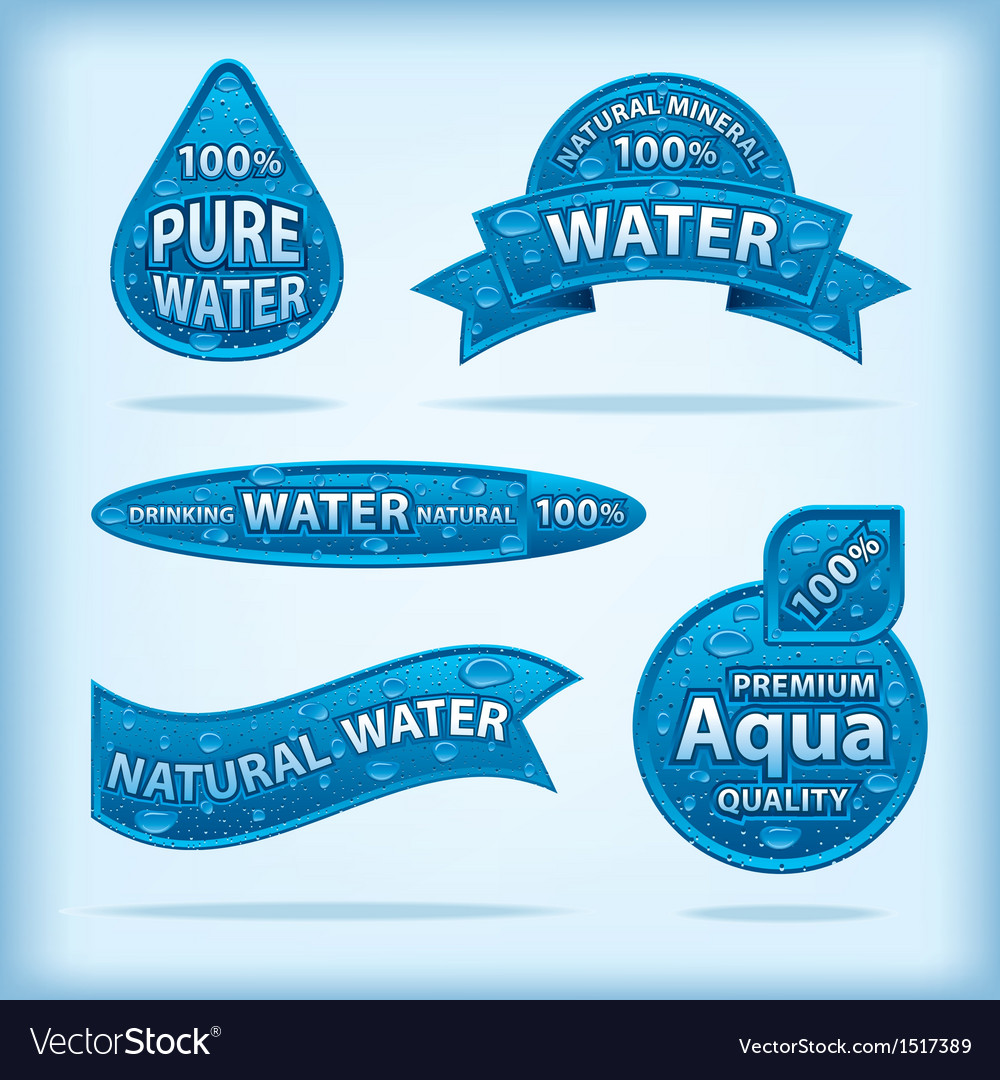 Clear water labels vector