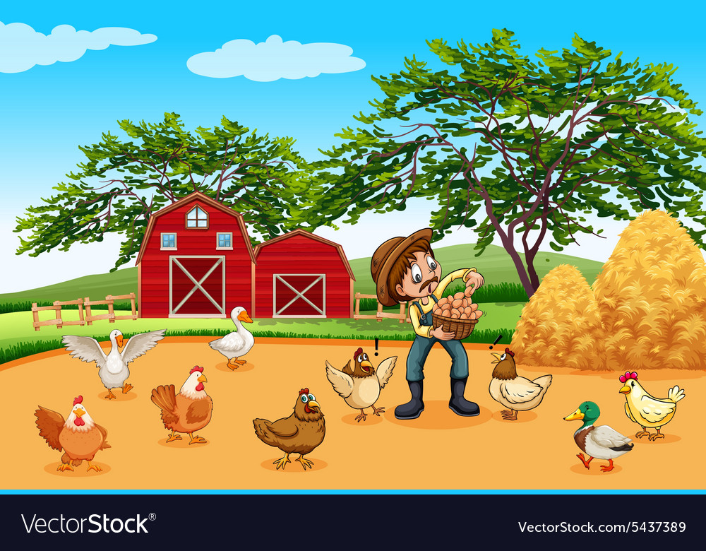 Farmer with chickens and eggs vector