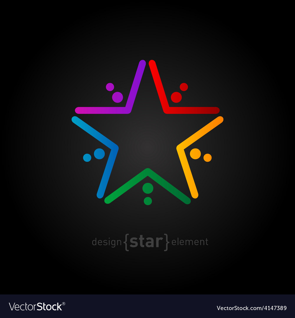 Rainbow star on black background abstract design vector