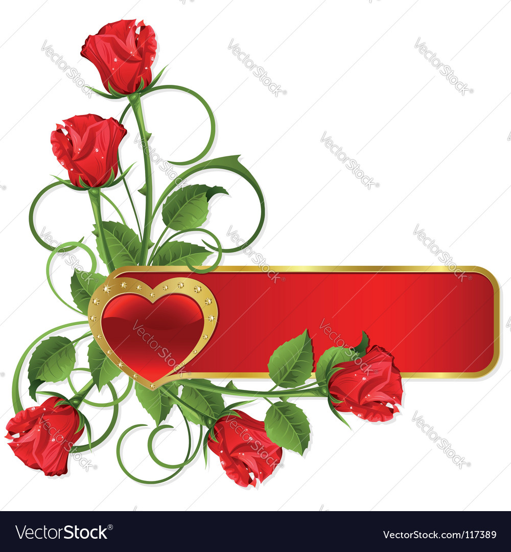 Roses and hearts pattern vector