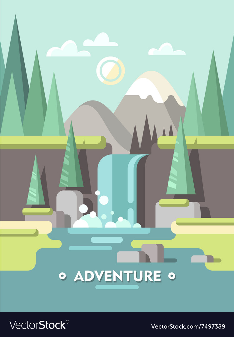 Summer landscape adventure vector