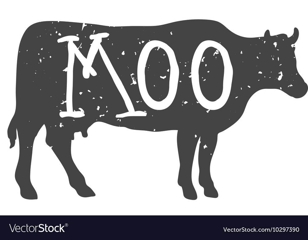 Cow silhouette with moo text vector