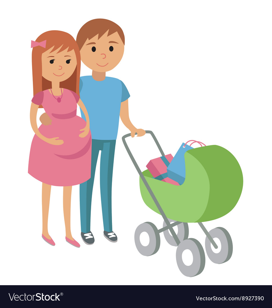 Pregnant woman and her husband on shopping vector