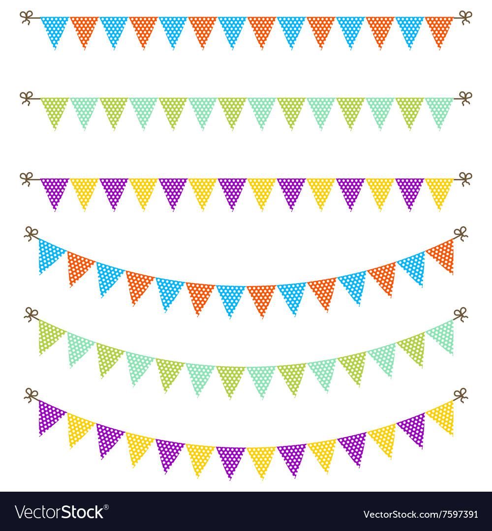 Bunting garland dotted flags vector