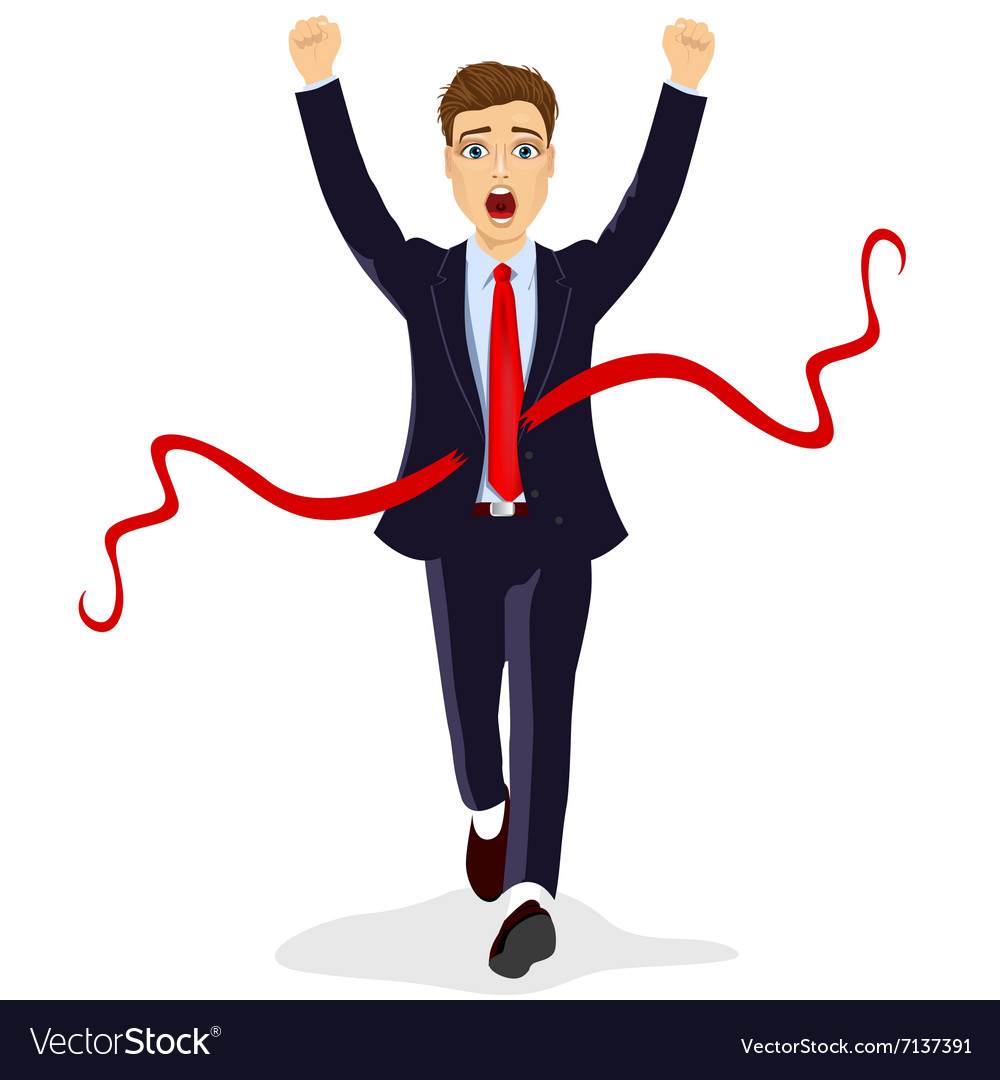 Young business man crossing the finish line vector