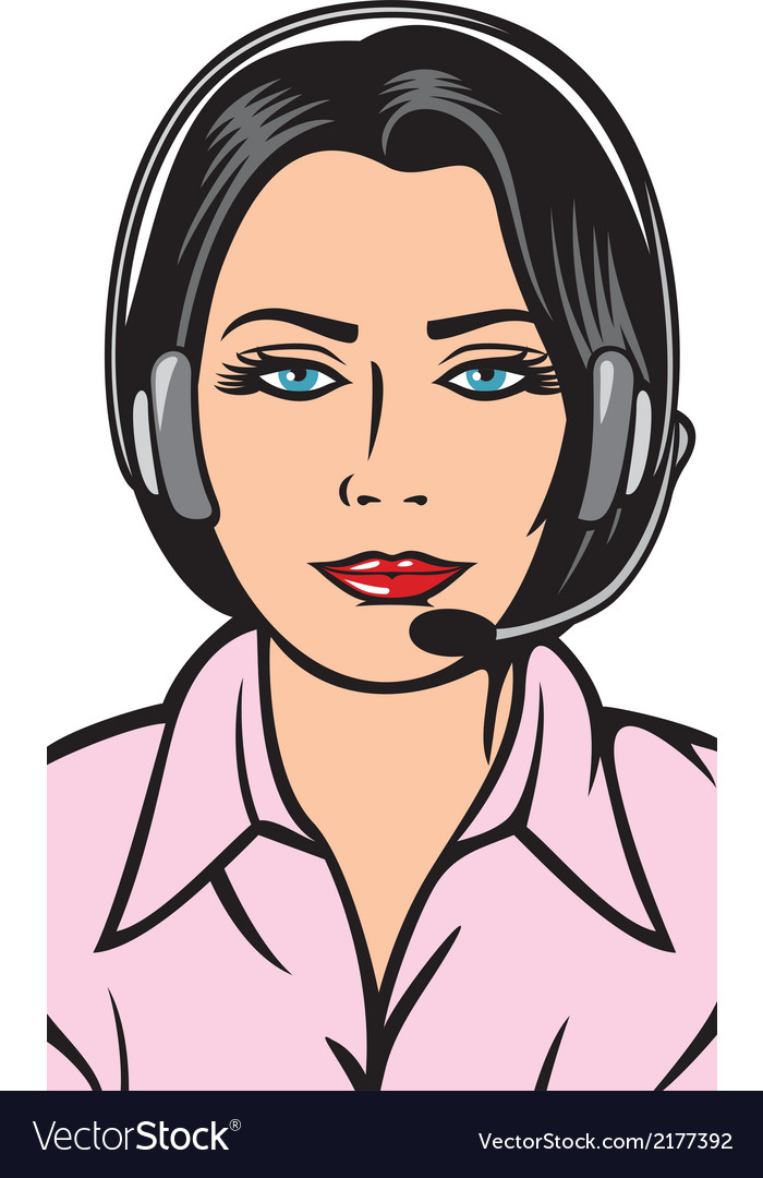 Female helpline operator with headset vector