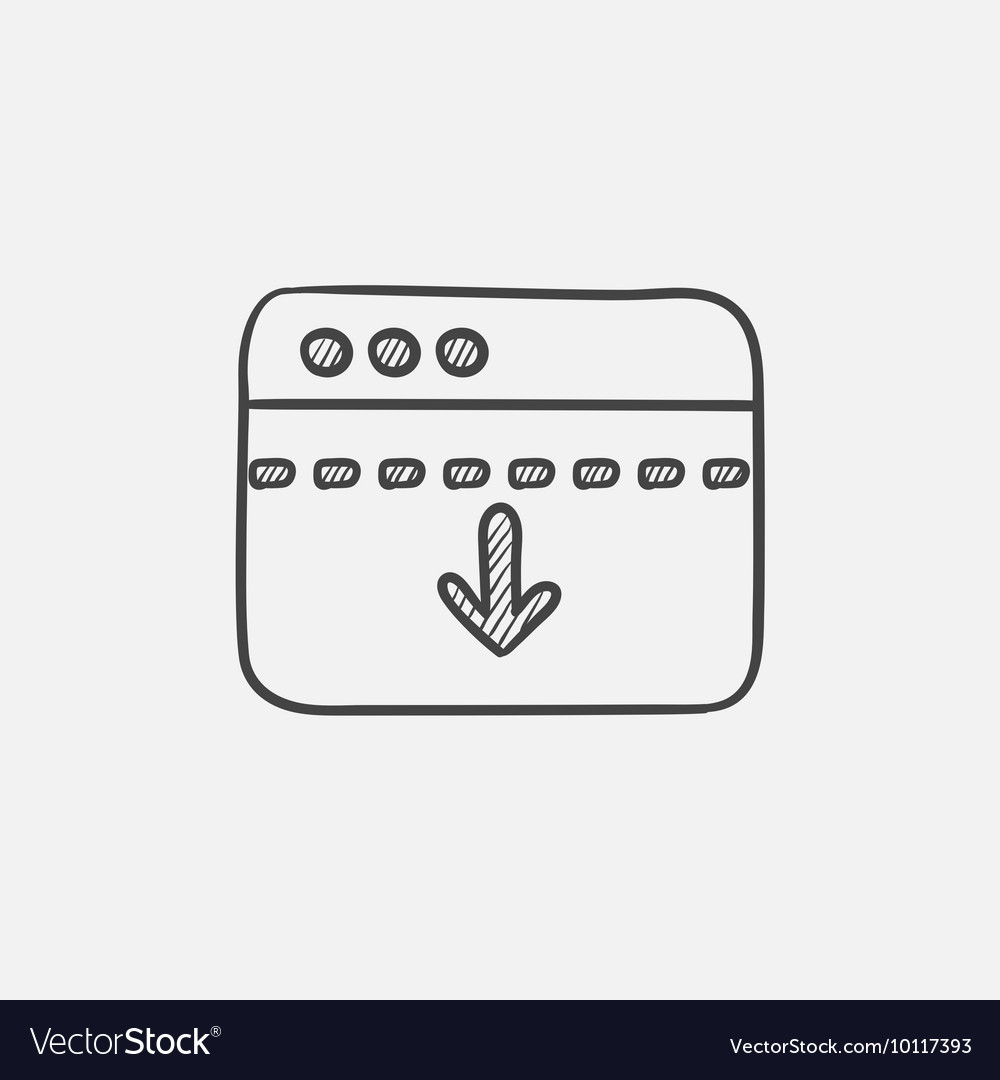 Browser window with arrow down sketch icon vector