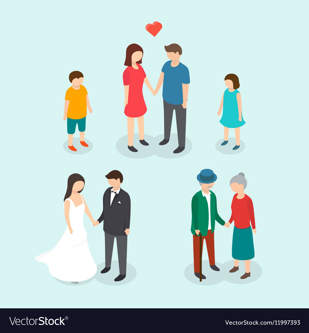 Couples love family people wedding children vector