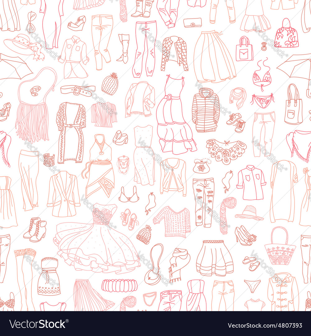 Seamless pattern of different womens clothes and a vector
