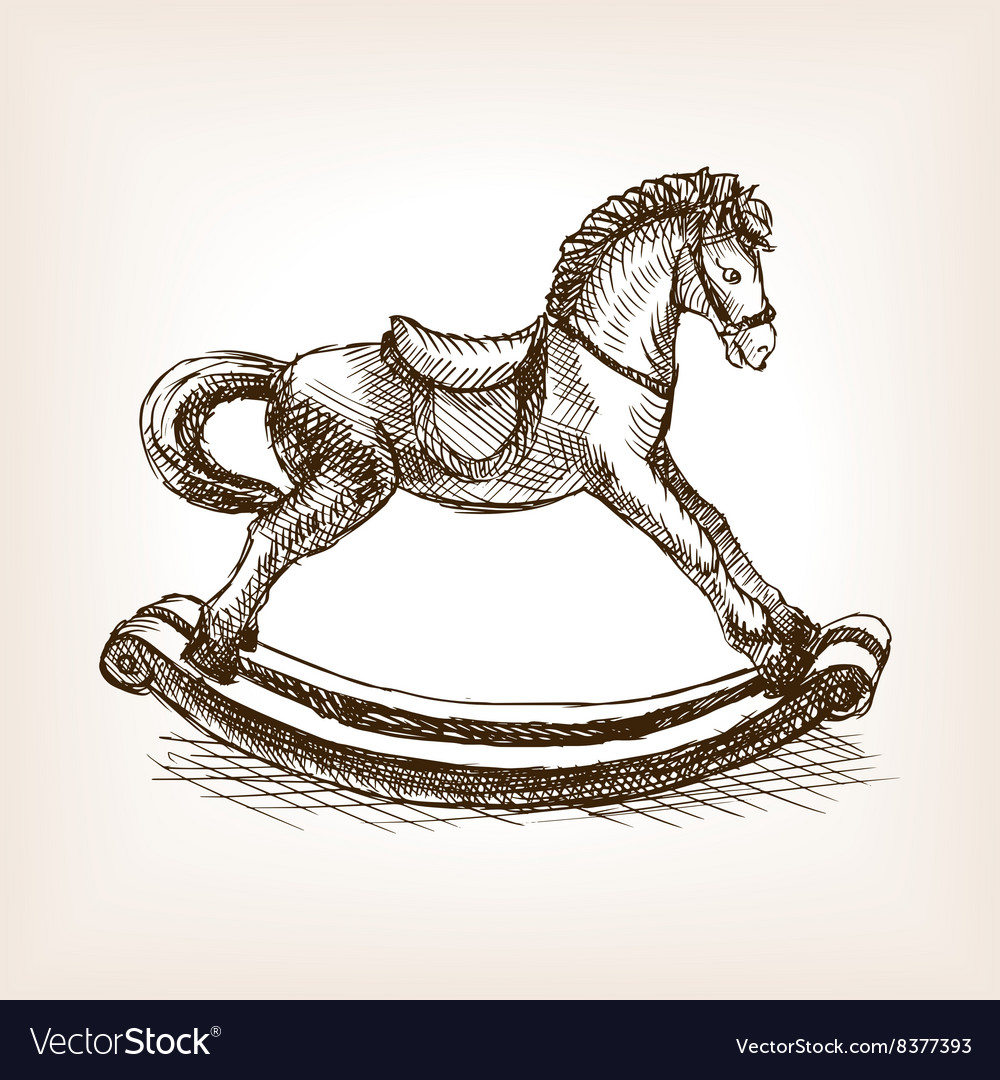 Vintage rocking horse sketch vector