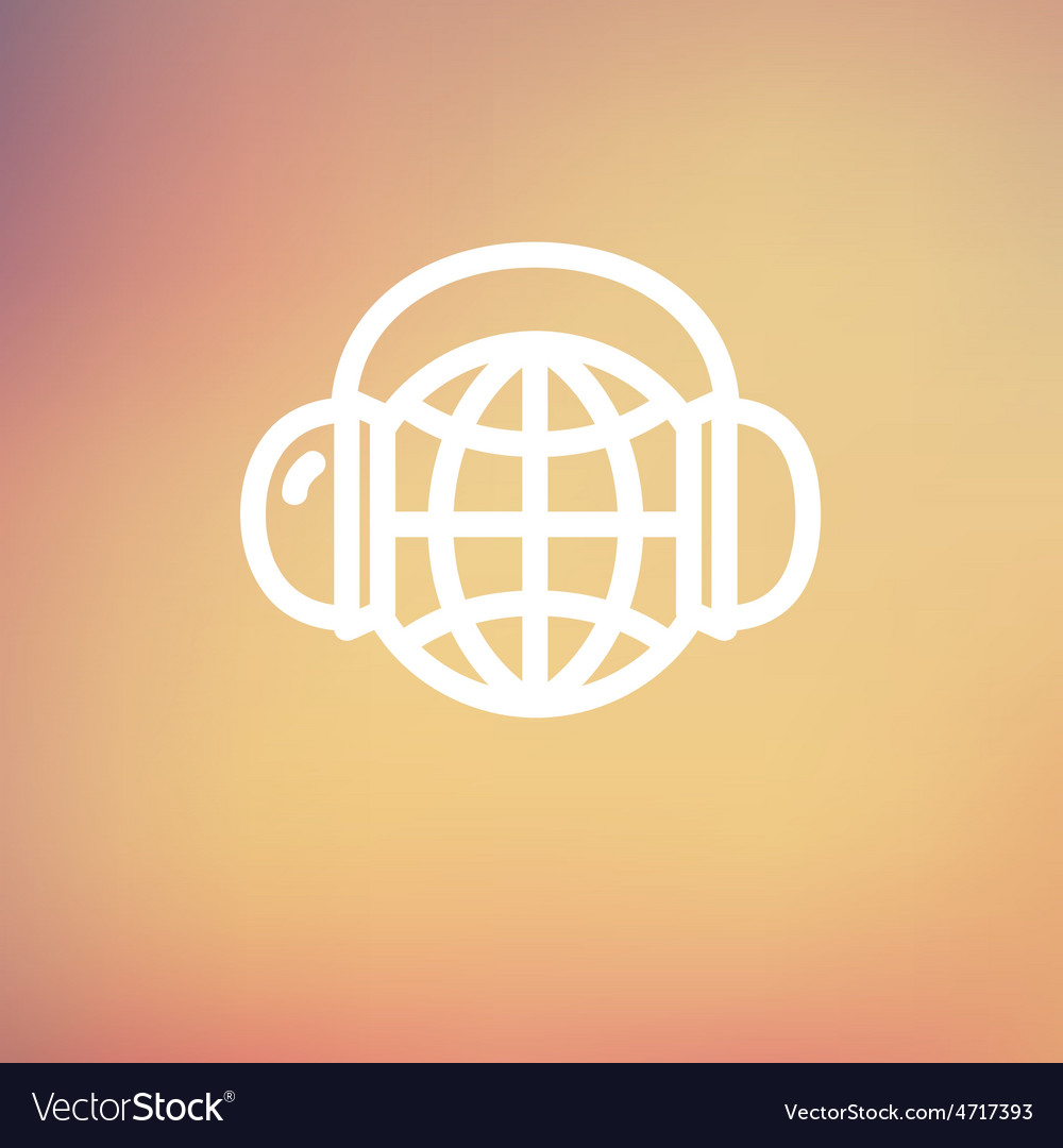 World music thin line icon vector