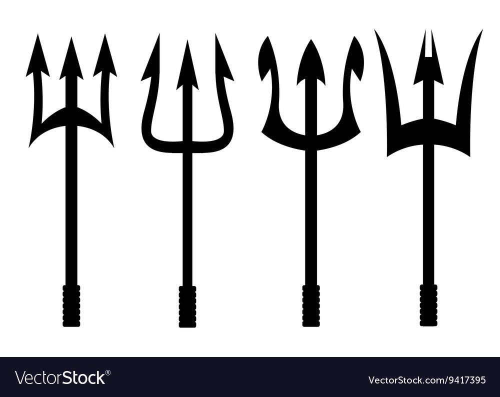 Black trident icons set vector