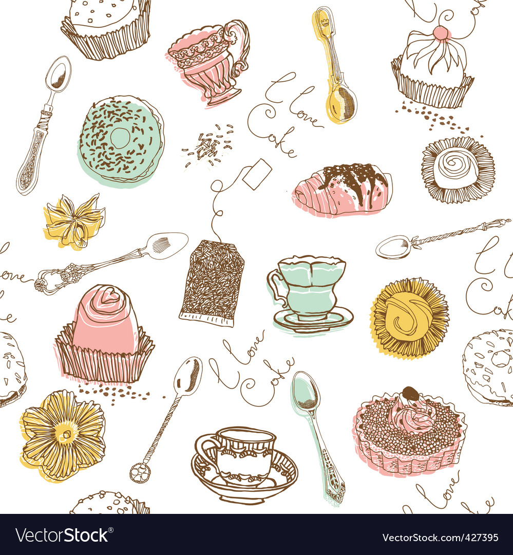 Cake lovers background vector