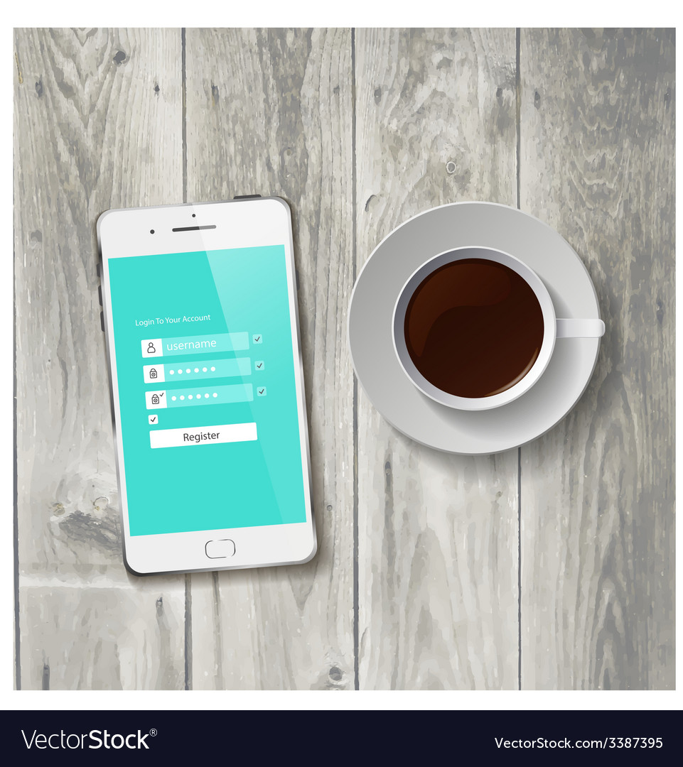 Coffee cup with wooden tablet vector