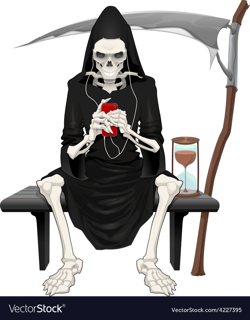 Death sitting on a bench vector