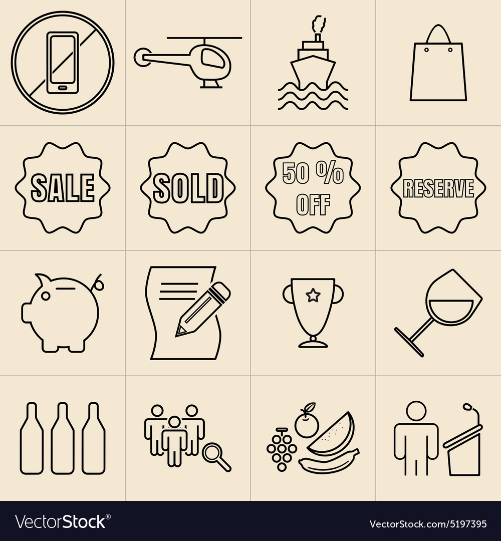 Exhibition line icons set vector