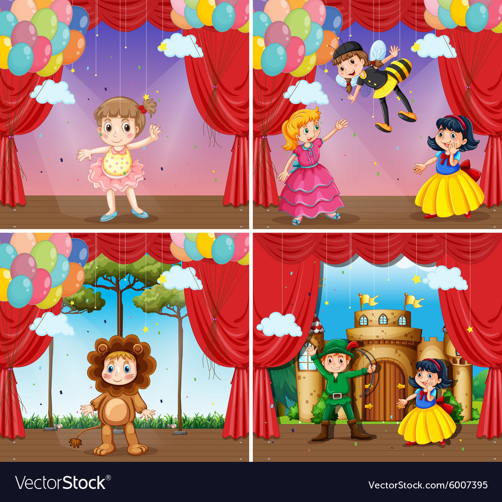 Four scenes of children doing stage plays vector