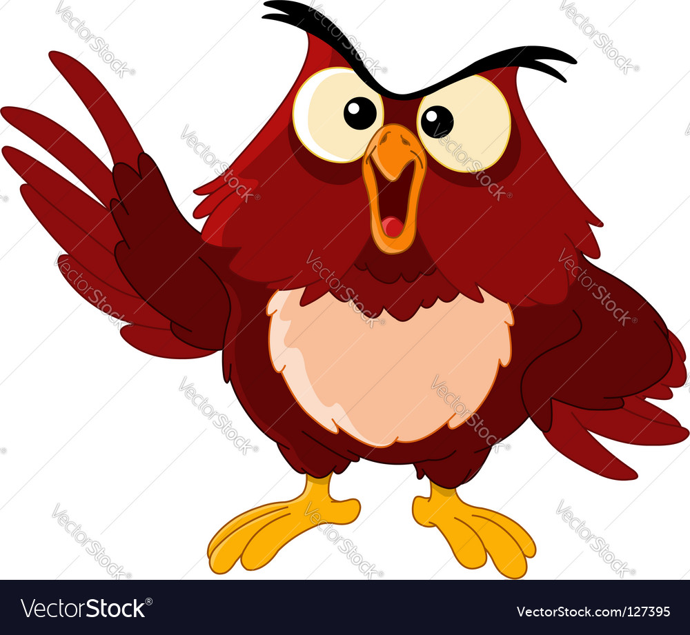 Pointing owl vector