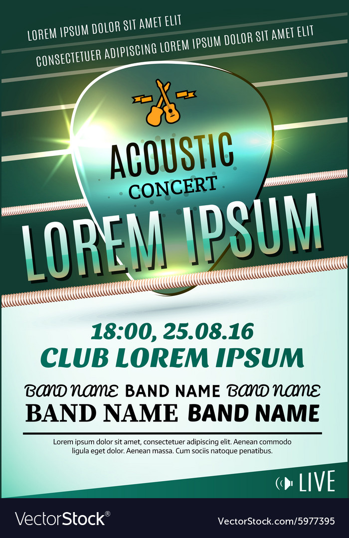 Poster for a acoustic concert or a rock festival vector