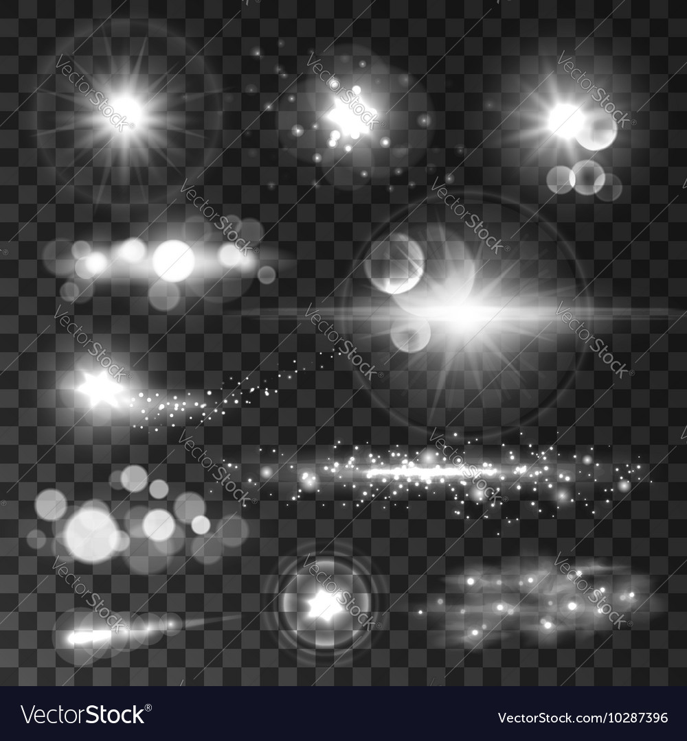 Glowing light flashes sparkling stars sun beams vector