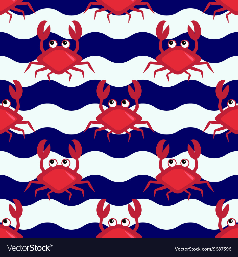 Happy crabs pattern vector