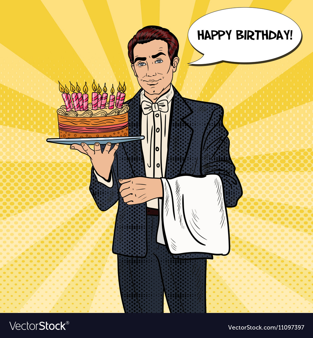 Pop art waiter holding tray with birthday cake vector