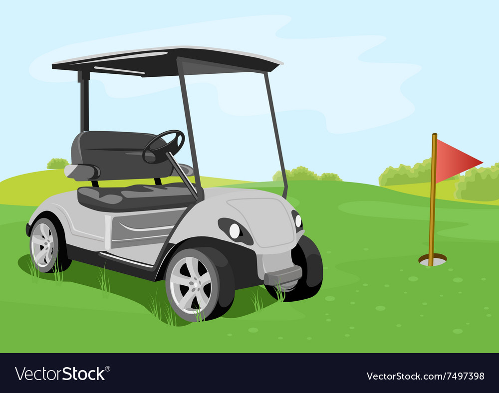 Golf cart and flag on a golf course vector