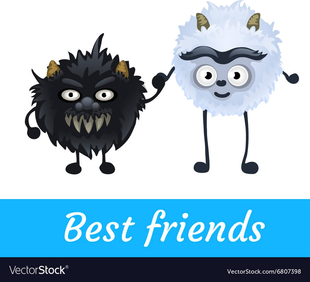 Two alien black and white furry characters vector
