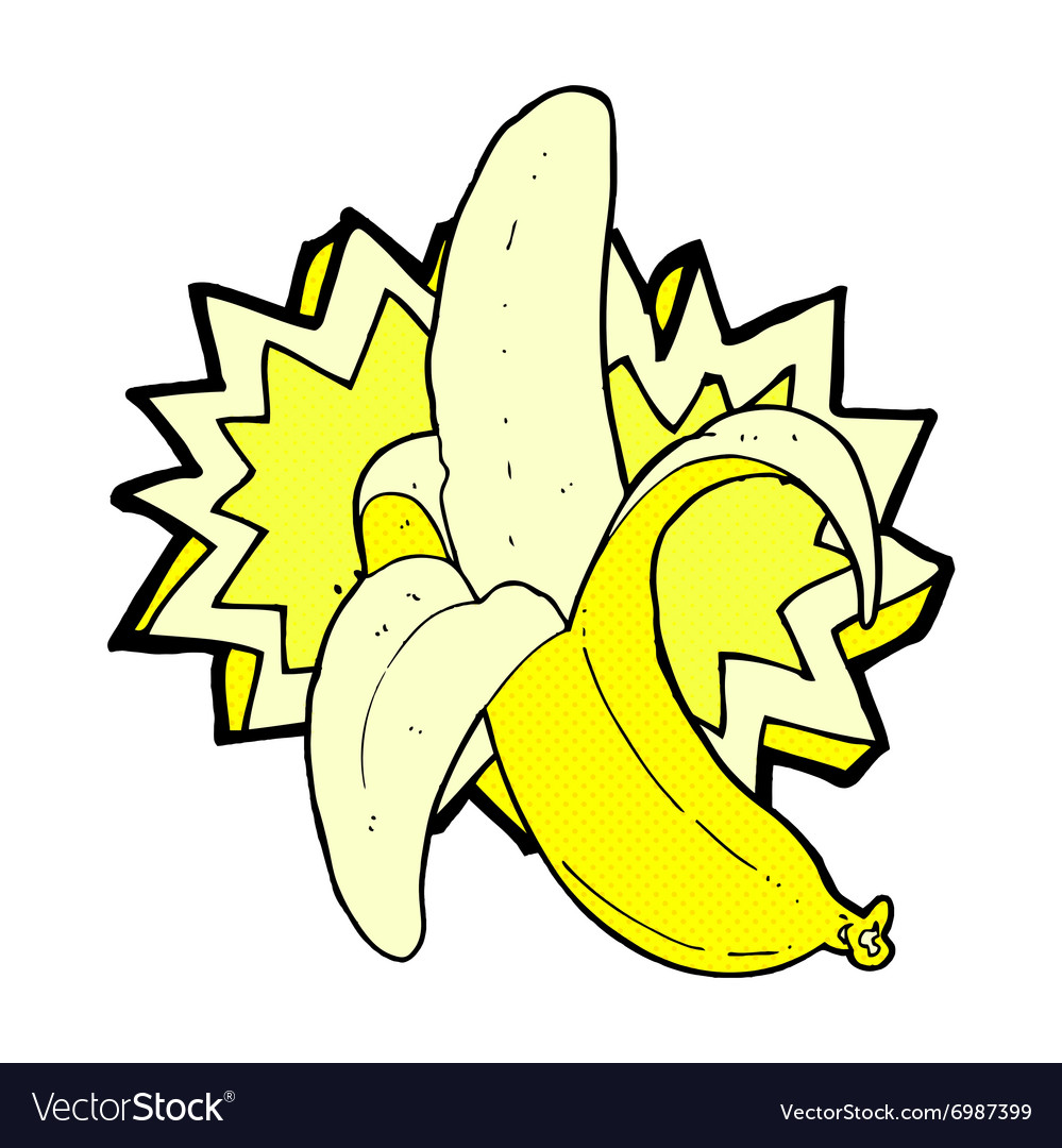 Comic cartoon banana symbol vector