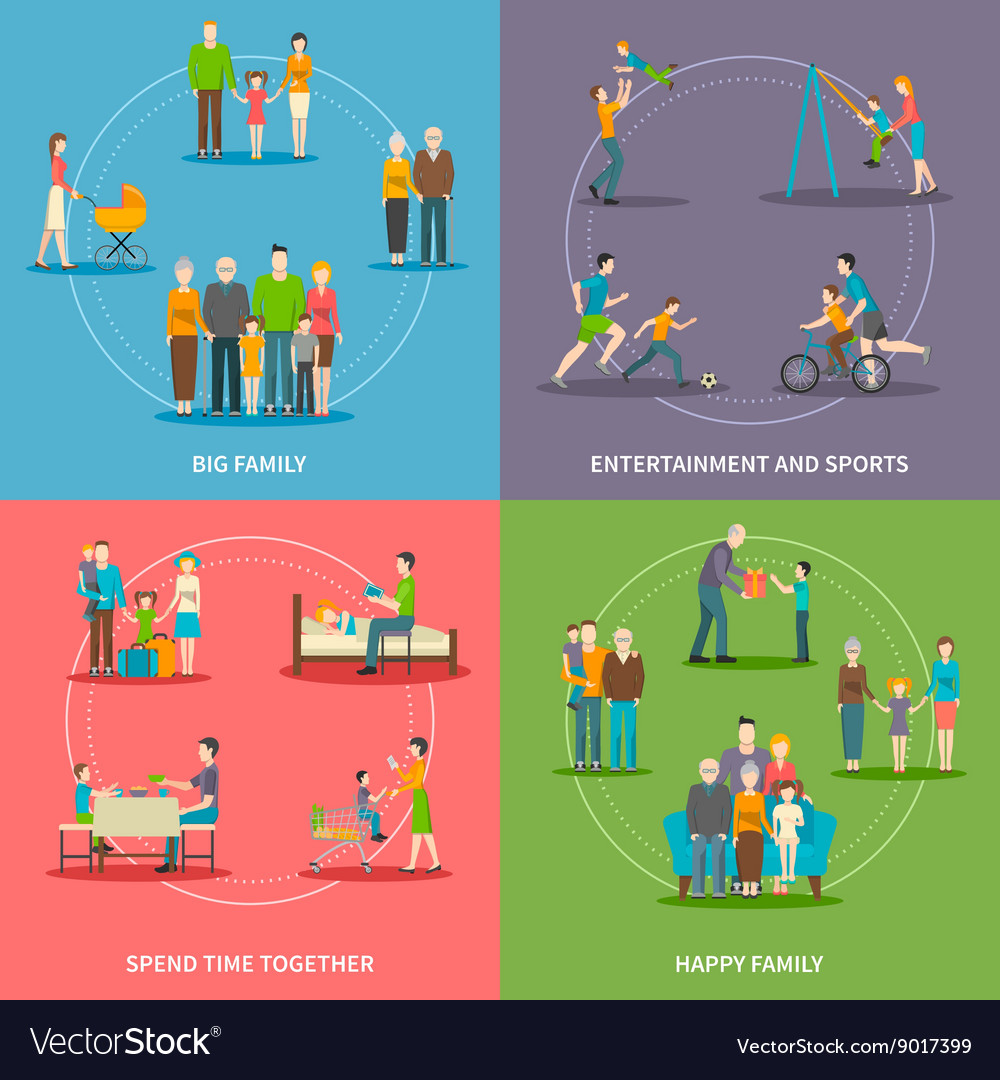 Happy family flat concept vector