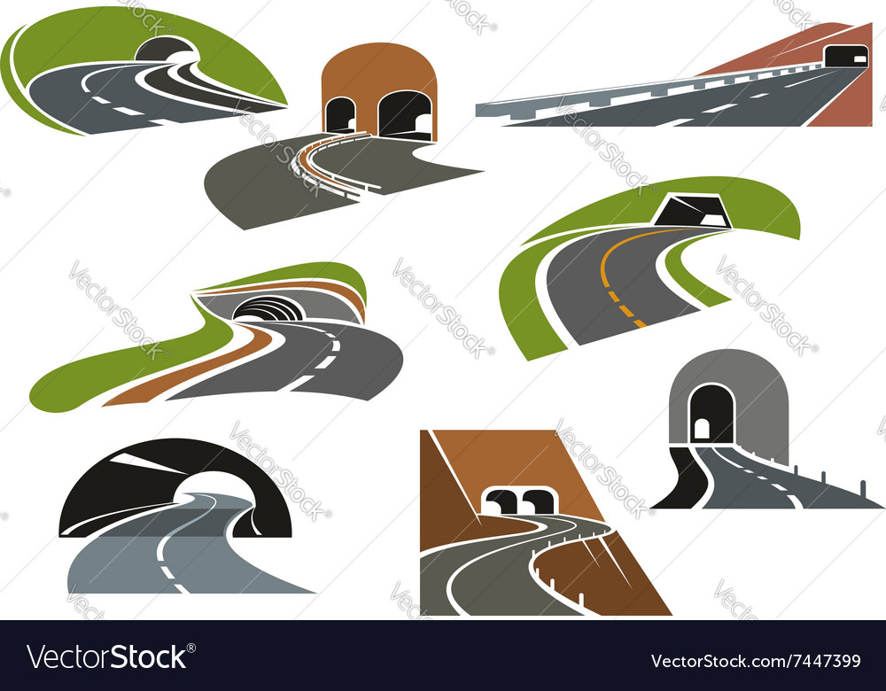 Road tunnels icons for transportation design vector